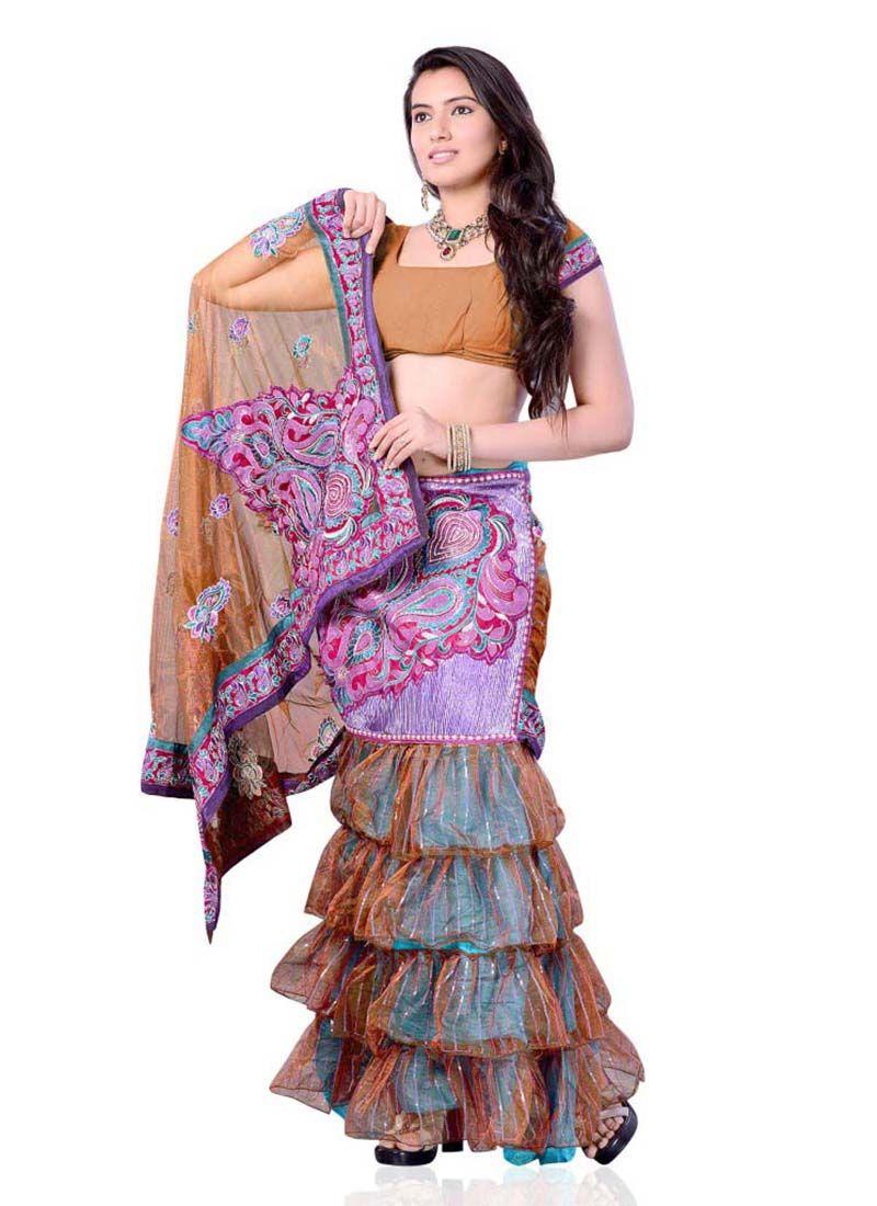 Net saree images majesty net multi colour lehenga saree  multi colour clothing