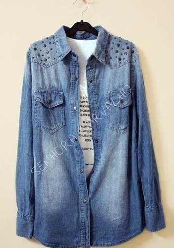 e5e6f2ab68 Camisa Jeans Feminina - Frete Incluso - Sc002 | Moda | Camisa jeans ...