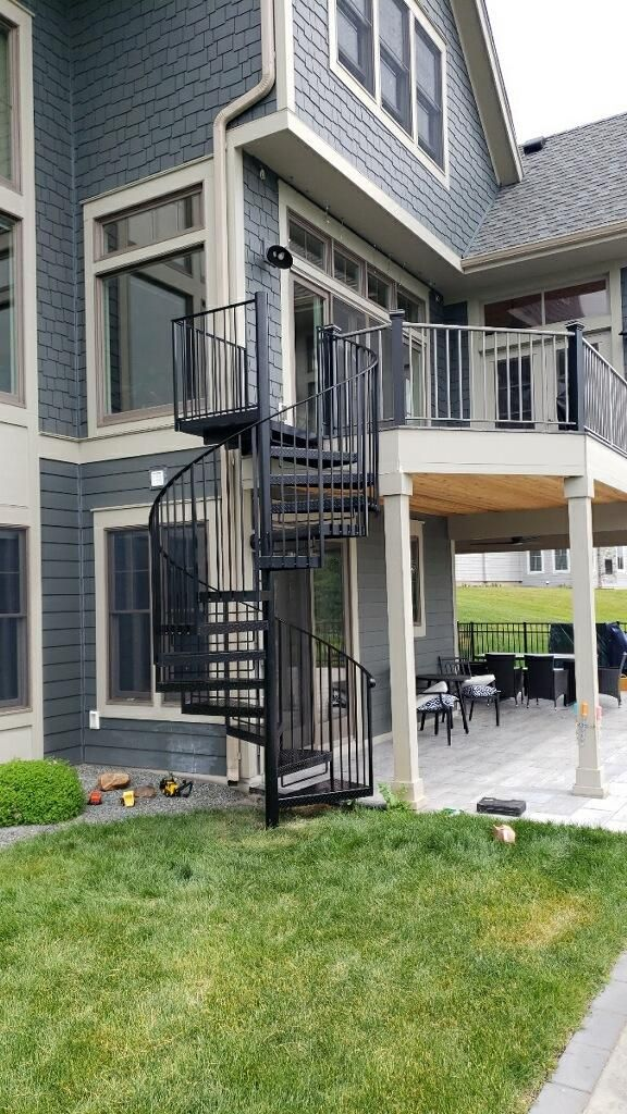 Best Custom Welded Once Piece Spiral Stairs For Decks 400 x 300
