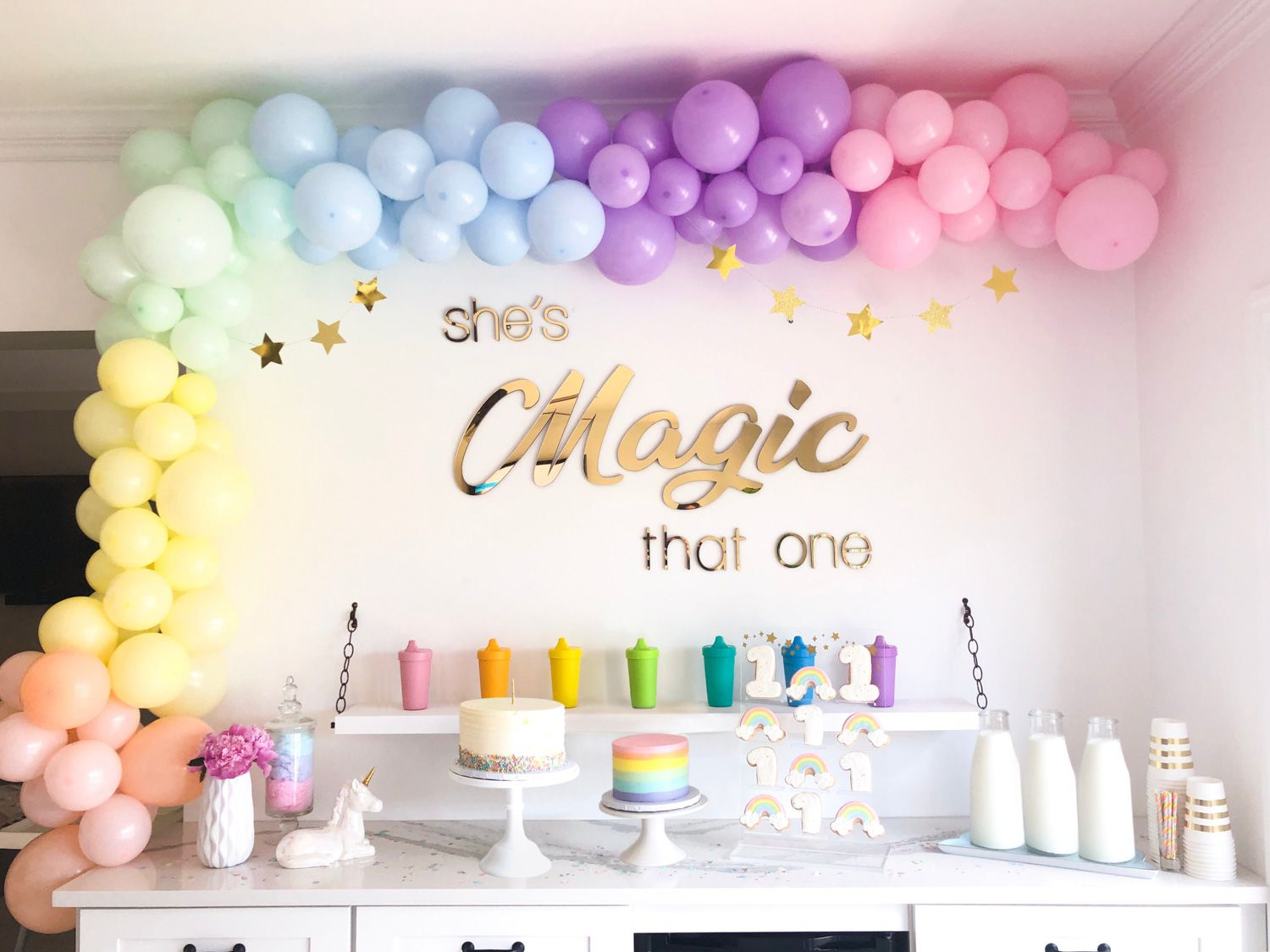 Rainbow First Birthday Party Ideas Rainbow First Birthday Rainbow Birthday Party First Birthday Party Themes
