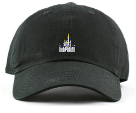 0416fd0bc30b0d You didnt want Sleeping Beauty getting all of the love! Cinderellas Castle  from Disney World- represented in tiny embroidered form on a hat! Hat is  adorned ...