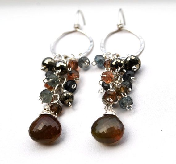 LOVE (love love) BROWN!    Rustic Brown and Blue Gemstone Cascade Earrings in by WhimsybyKT, $94.00