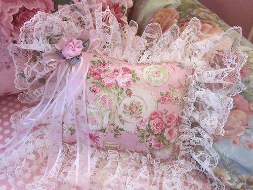 Collectible Shabby Pink Rose Garden Tea Home Decor Sweet Pillow Lace Ruffles | eBay