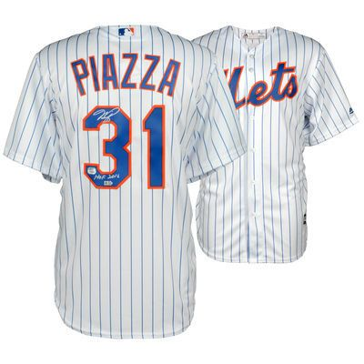 superior quality 2f070 02fd6 MIKE PIAZZA New York Mets Autographed White Pinstripe ...