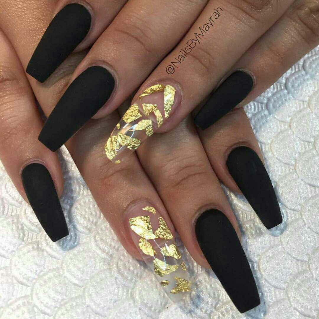 Negro Cristal Hoja De Oro Mate Nails Uñas Uña Decoradas