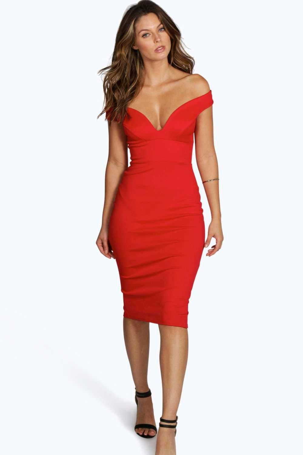 639b9fb7916 Sweetheart Off Shoulder Bodycon Midi Dress | Clothing | Dresses, Red ...