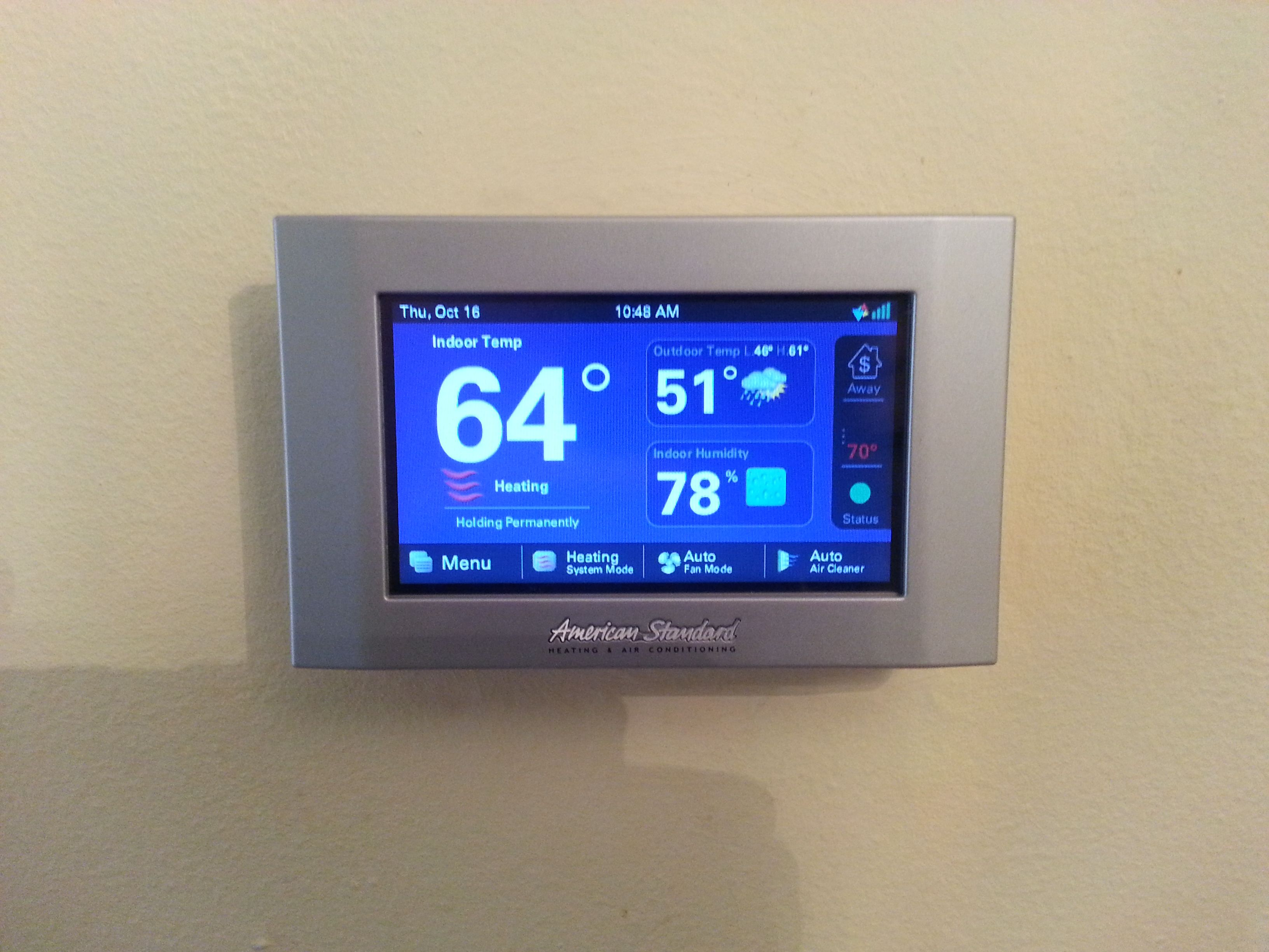 American Standard Gold 824 Thermostat, 5 day weather forecast, Nexia ...
