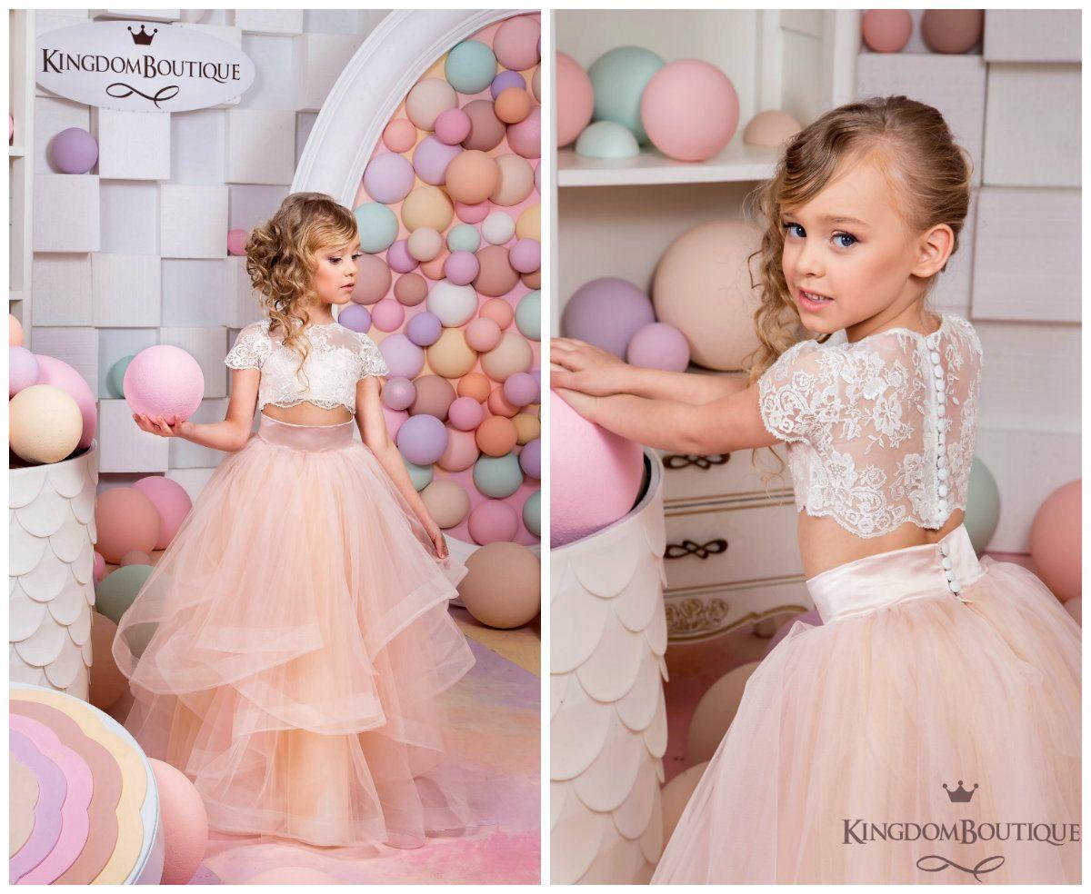 Ivory and Blush Pink Flower Girl Dress - Birthday Wedding Party ...