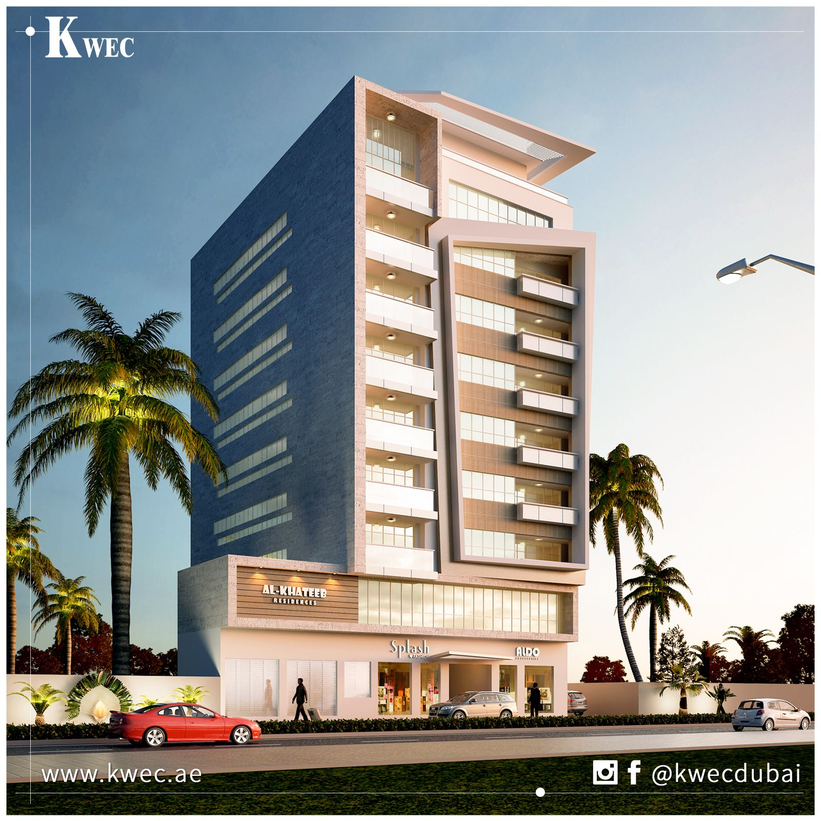 Luxury commercial and residential building in muraqqabat dubai modern contemporary design by kwec team