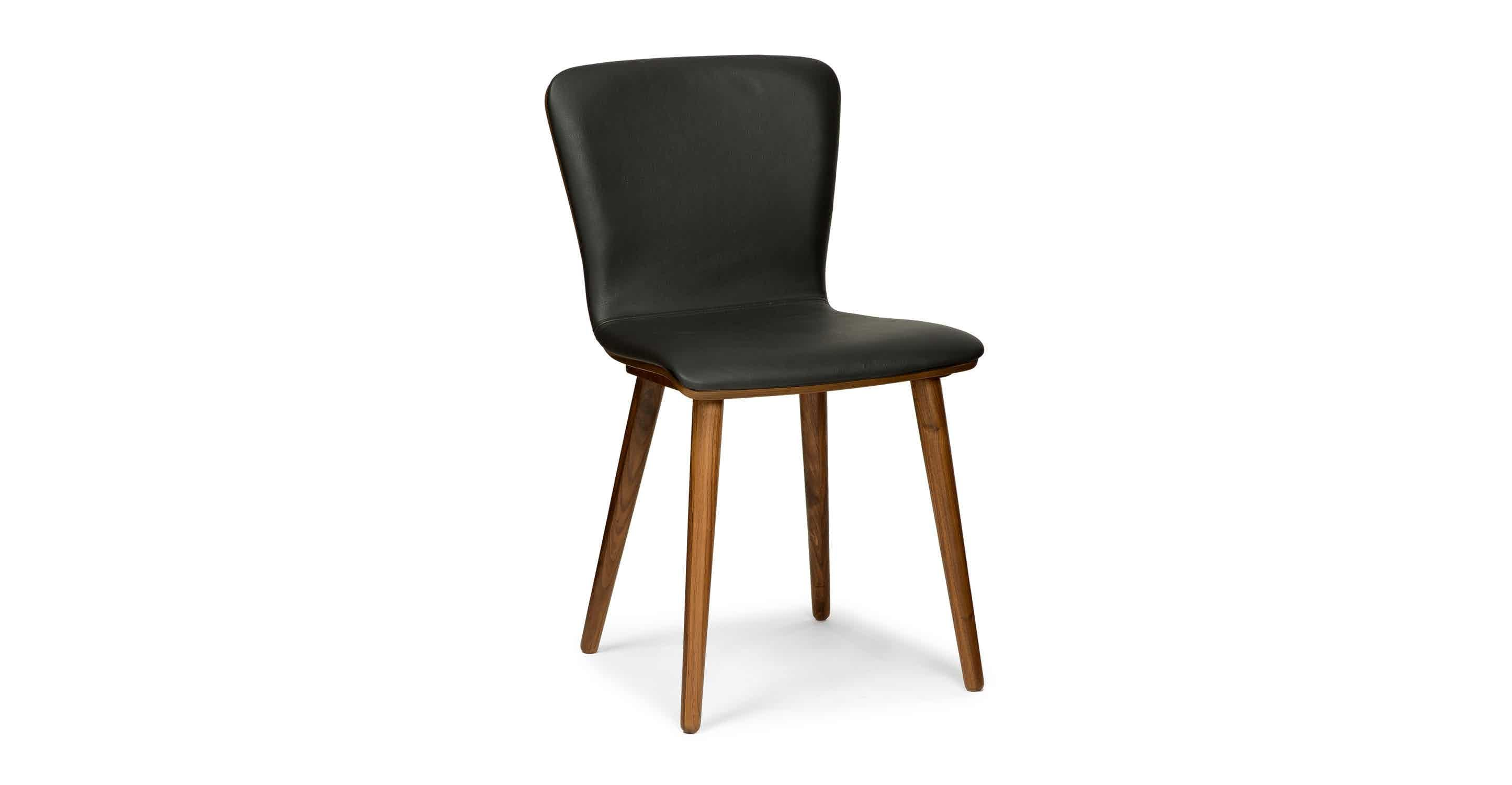 Sede black leather walnut dining chair