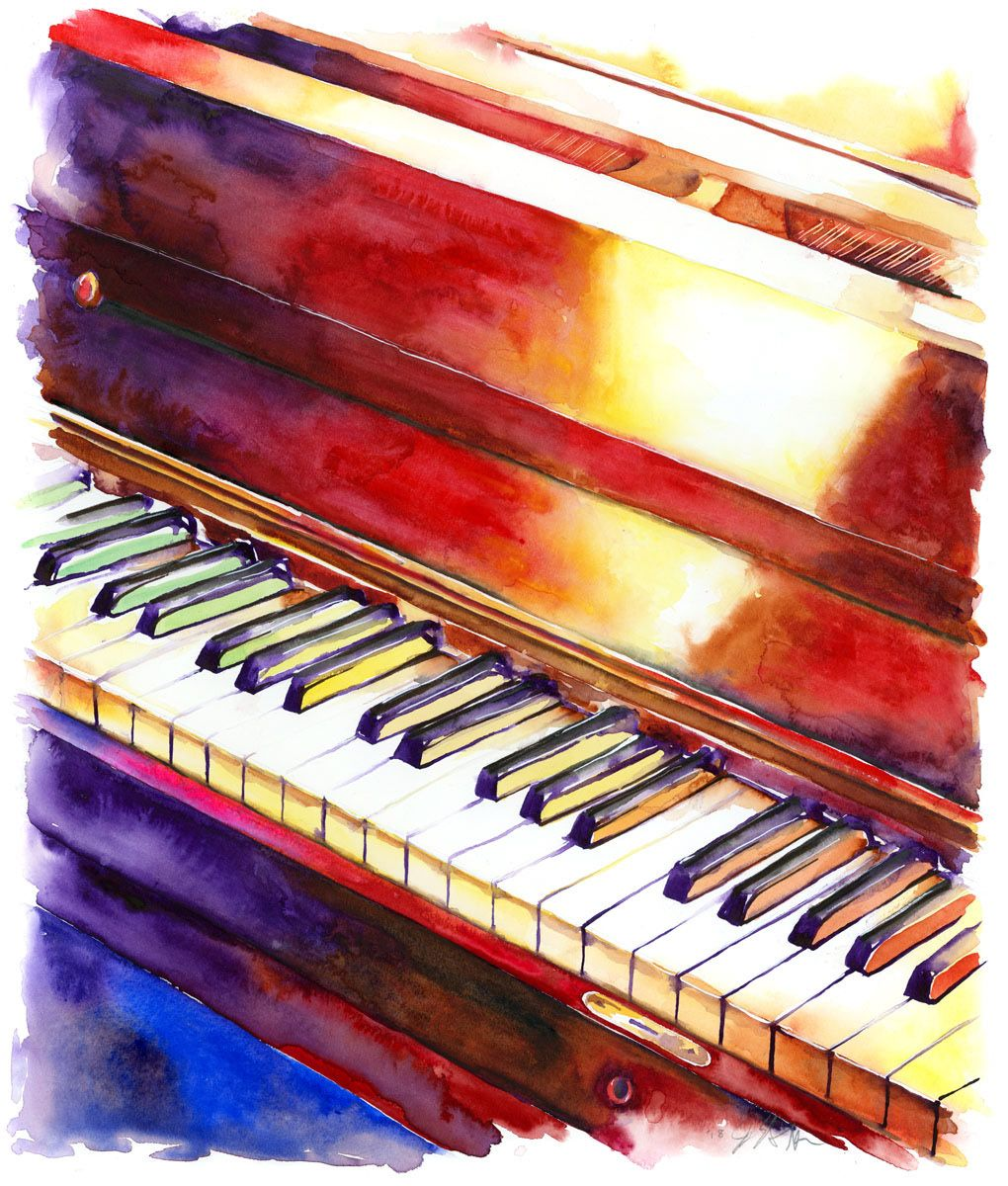 Jamie Hansen Black And White Keys Piano Watercolor Art For