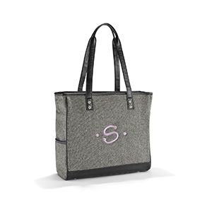 """Cindy Tote - Black Tweed - Stylish and roomy, our signature item can hold almost anything! Carry other totes or bags, a jewelry case, laptop, or just use it as a stand-alone purse. Even makes a very fashionable diaper bag! Measures approx: 14""""H x 15""""W x 5""""D 11"""" handle drop"""