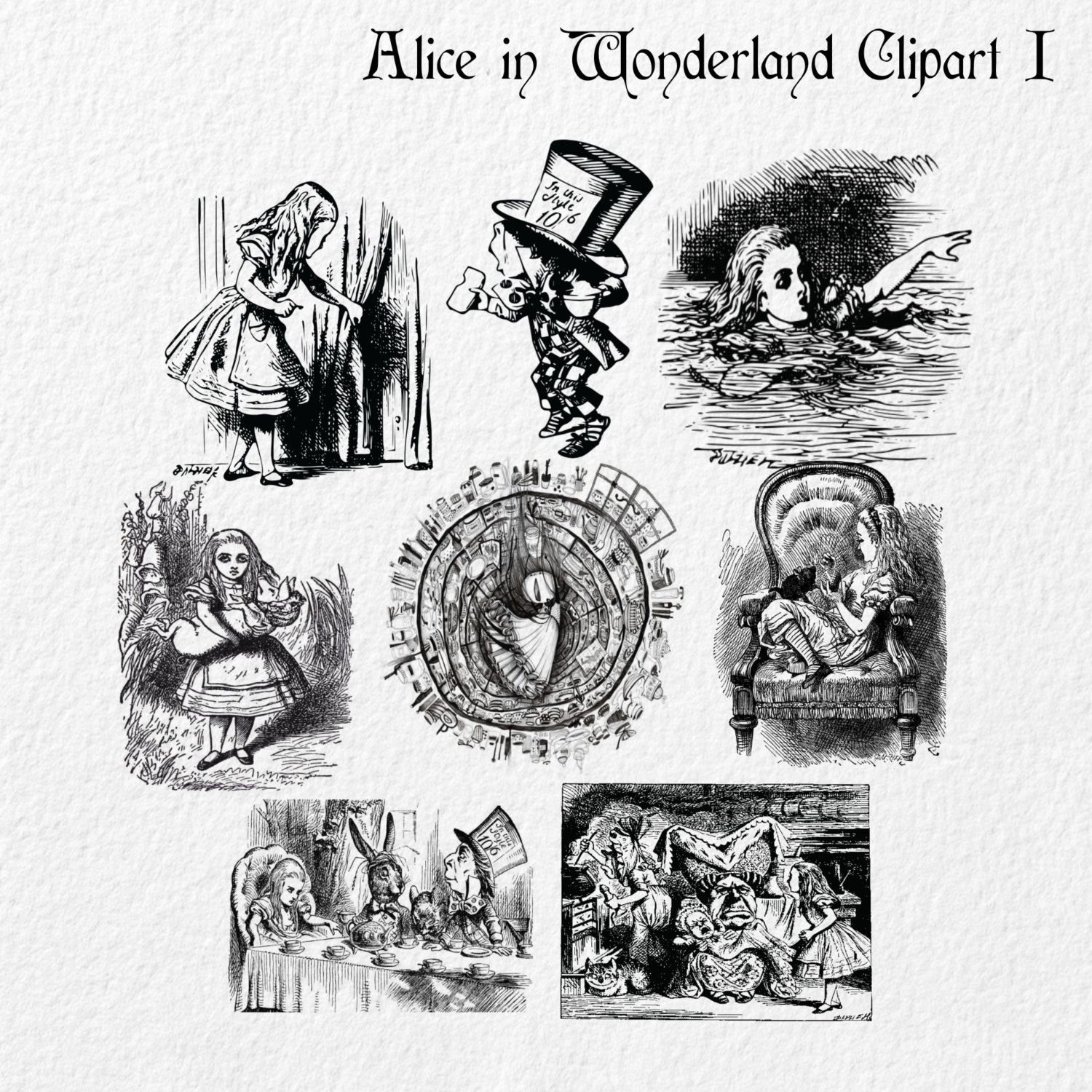 vintage clip art alice in wonderland - photo #14