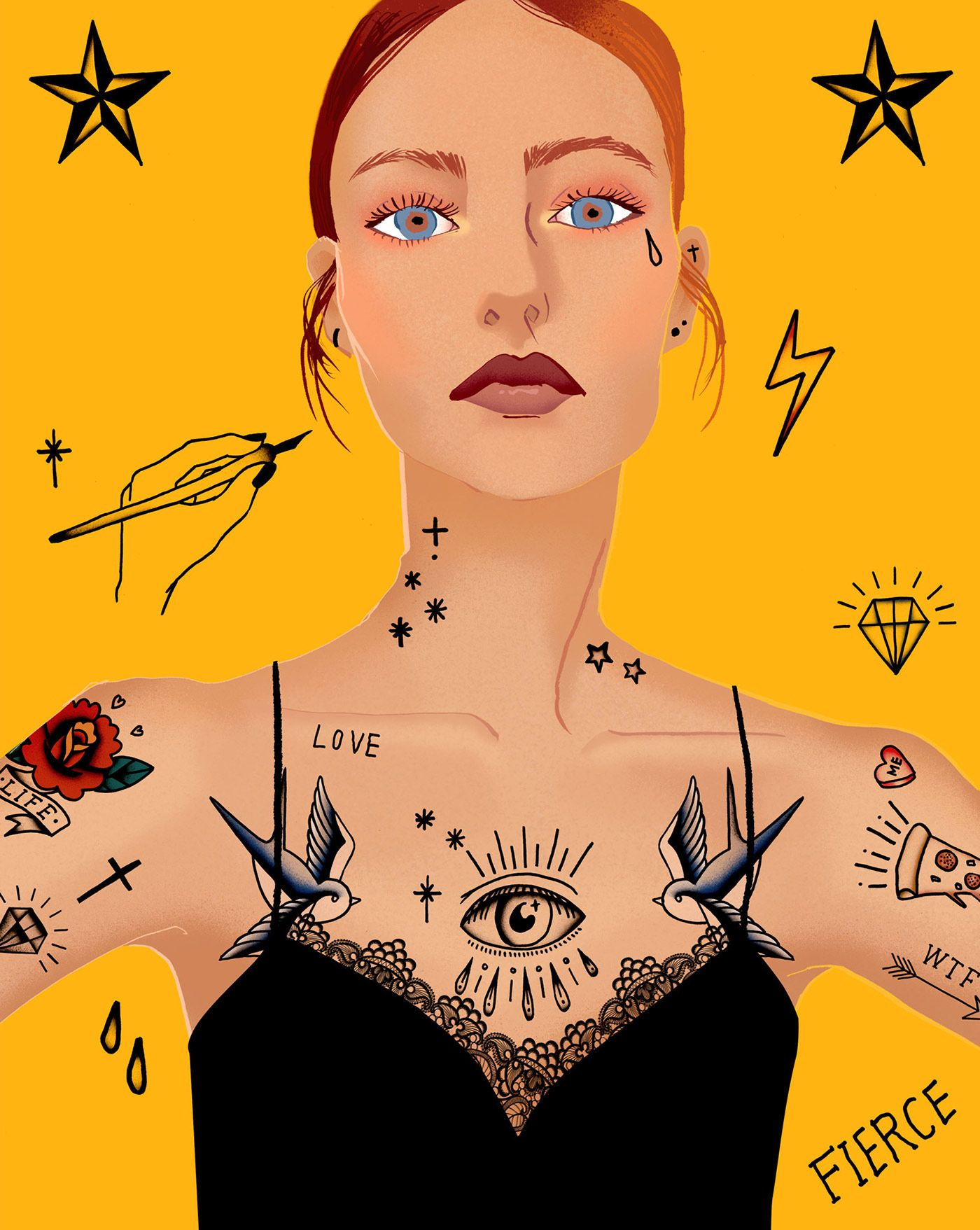 """Check out my @Behance project: """"Girl with tattoos"""" https://www.behance.net/gallery/52810831/Girl-with-tattoos"""