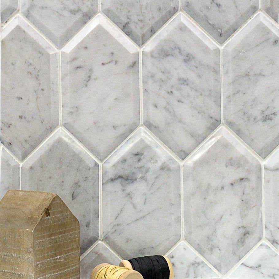 Shop For Beveled White Carrara Hexagon Polished