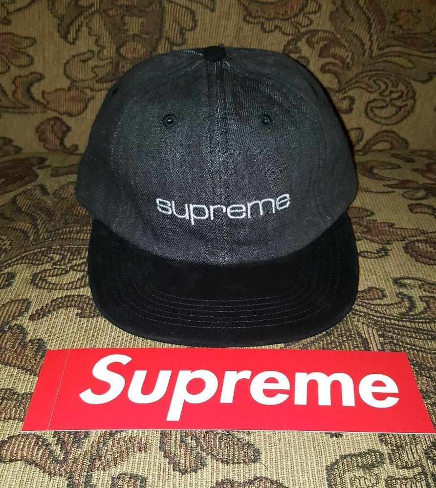 6357b86a0fb183 Supreme Denim Suede Compact Logo 6 panel hat in Black w/ Red BOGO S/S 18 in  hand #Supreme #6panelhat