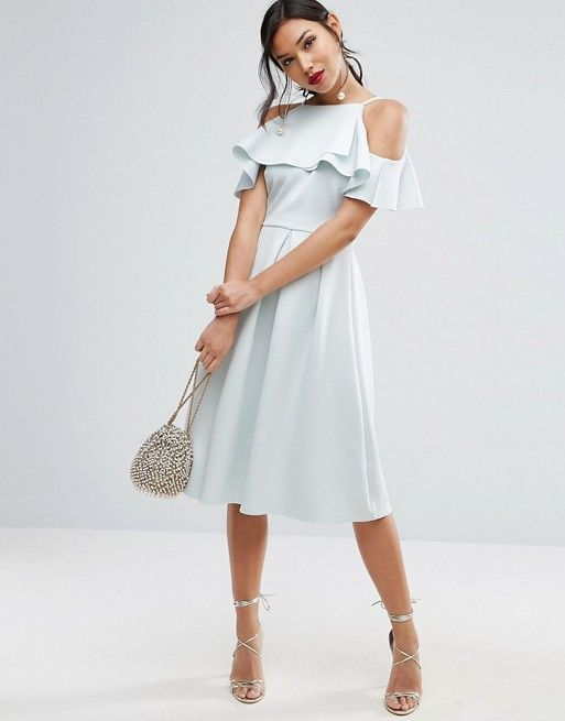 ASOS Scuba Ruffle Top Midi Prom Dress at asos.com