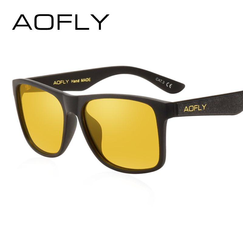 e0bc7780953 AOFLY BRAND DESIGN Night Vision Glasses Polarized Sunglasses Men Yellow  Anti Glare Vintage Driving Sun Glasses