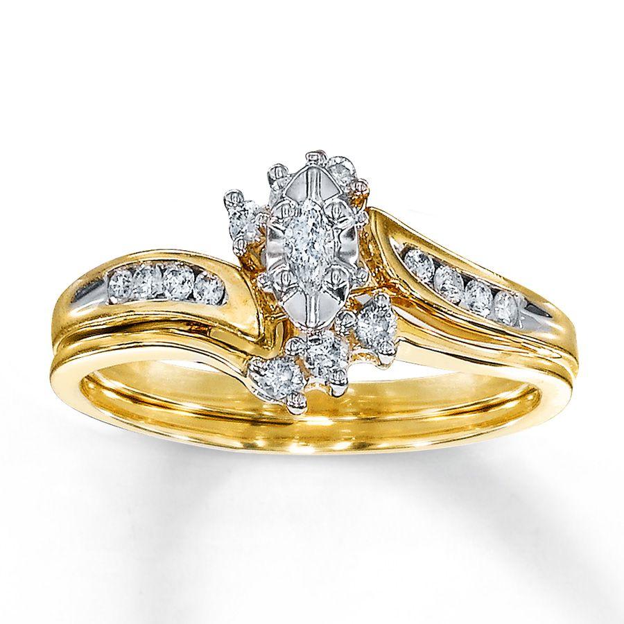 Kay Diamond Bridal Set 14 ct tw Marquisecut 10K Yellow Gold