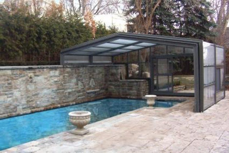 As you can see from the 'before' picture, these Toronto, ON, clients had created a truly magnificent backyard oasis for themselves. Unfortunately, because of the harsh Ontario winters they had to endure, the centerpiece of their oasis – the pool – could only be used a few months of the year. They needed a custom lean-to to shelter the space.