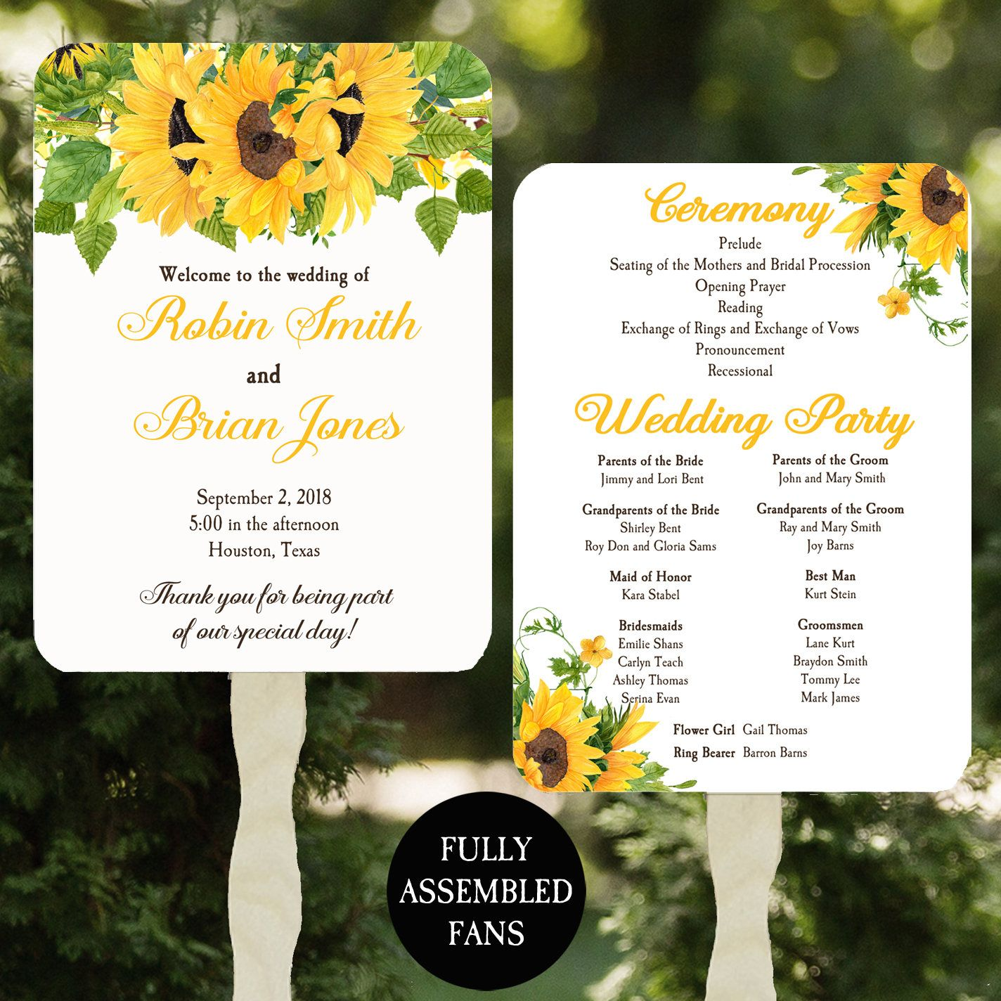 Wedding Program Fans Printable or PrintedAssembled with FREE Shipping Sunflower and Wood Collection