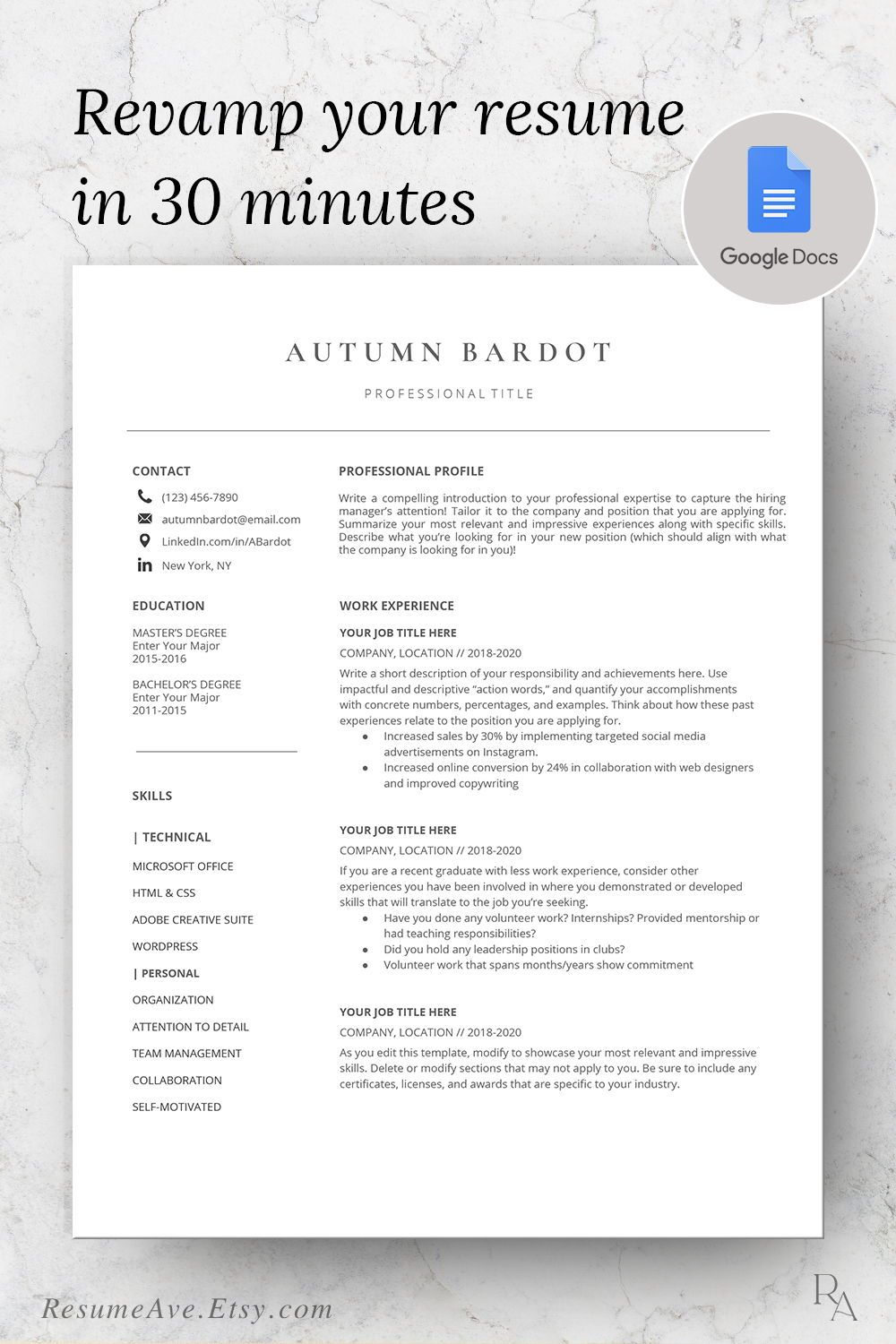 Professional Google Docs Resume Minimalistic Resume Template Etsy Cover Letter For Resume Nursing Resume Template Resume Template