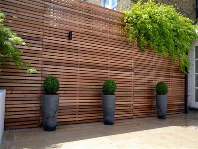Trellis Screening Ideas Part - 16: Garden Design Ideas : Cedar Timber Batten Cladding Privacy Screen Trellis  With Grey Stone Pots Buxus B