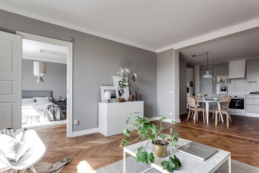 Salón abierto a comedor / Salón con paredes en gris / Mueble ...