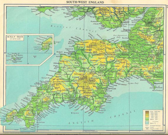 Map Of West Of England.Cornwall West Country Map Vintage Map From School Atlas 1950s