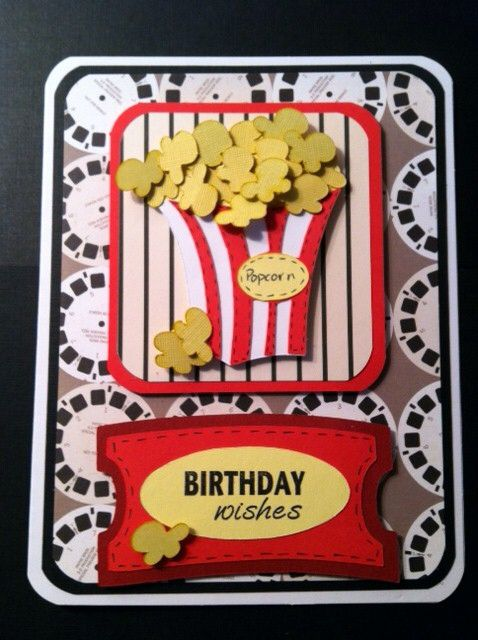 Birthday Card For Movie Lovers I Mixed This One And Another Movie One To Come Up With One For Tim Homemade Birthday Cards Cricut Birthday Cards Cards