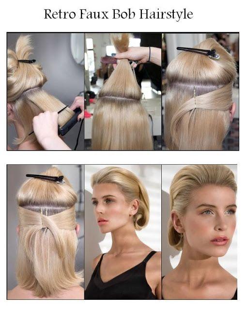 Retro Faux Bob Hairstyle Hairstyles Tutorial Hair Styles Bob Hairstyles Hairstyle