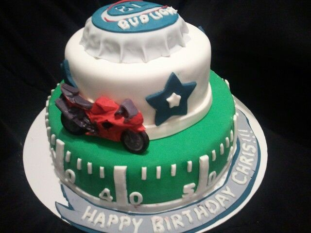 Made by LaKeisha Keck with Sweet Tooth Mother and  Daughter cakes.  Beer cap, football and motorcycle cake.