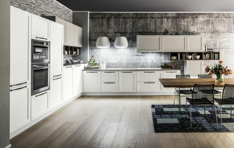 pavimento in parquet, mobili e struttura bianca ad angolo, tavolo in ...