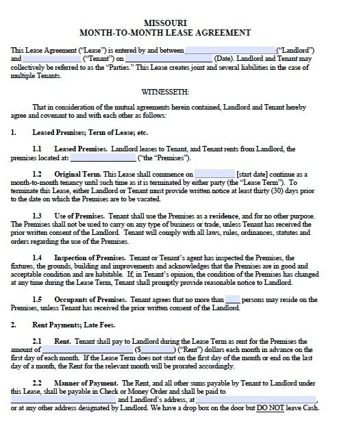 Printable Sample Monthly Rental Agreement Form Real Estate Forms - blank lease agreement example