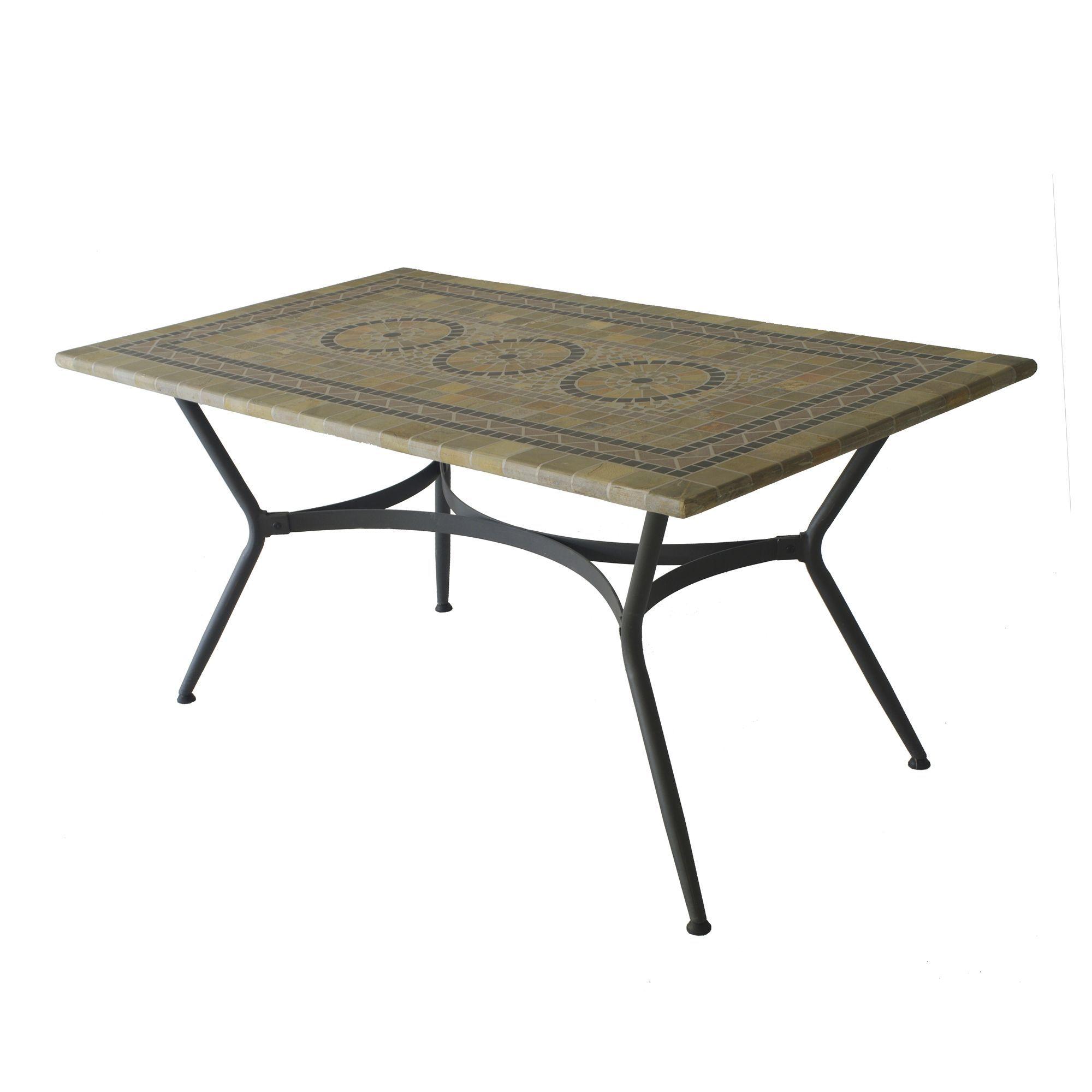 Table de jardin rectangulaire mosaïque Noir oxydé - Agadir ...