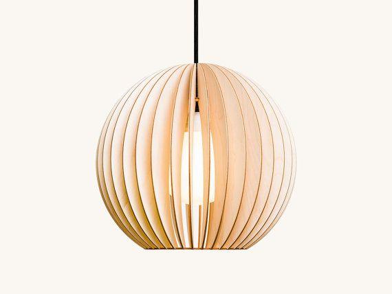 AION wood lamp, birch natural | Wood pendant light, Wooden
