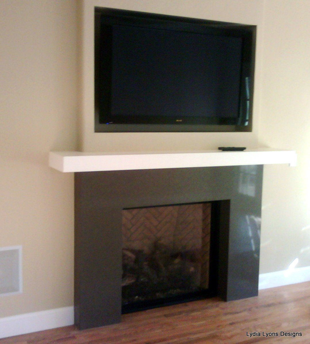 Recessed tv over fireplace   Basement Renovation ...