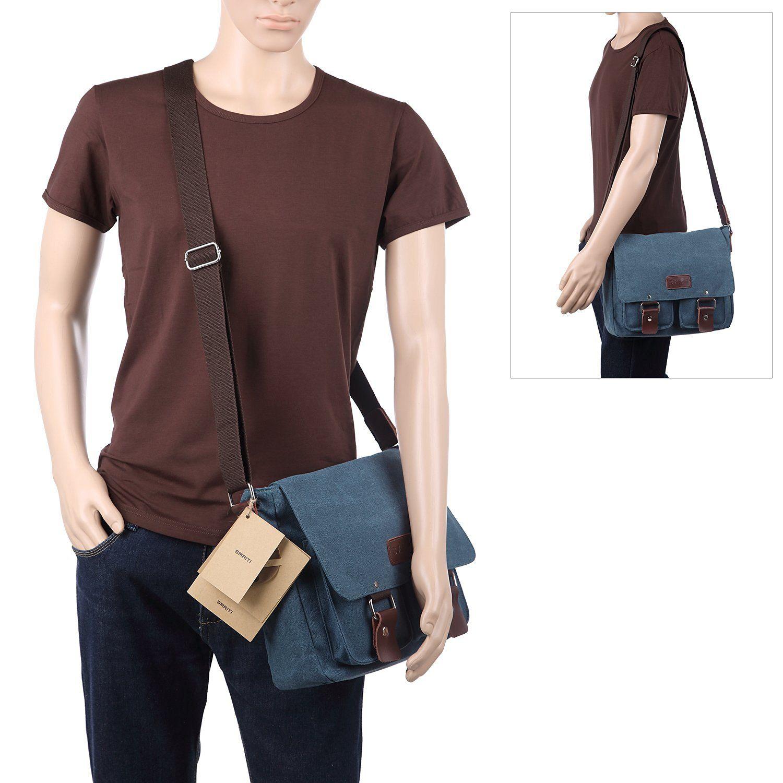 Amazon.com  Smriti 12-Inch Cotton Canvas Laptop Messenger Bag Satchel for  School 9d8d063f2cbdc