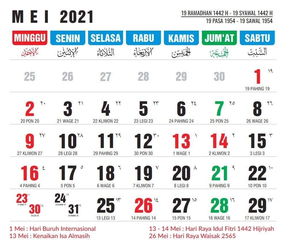 Kalender Mei 2021 - Tanggalan Nasional Masehi, Jawa dan ...