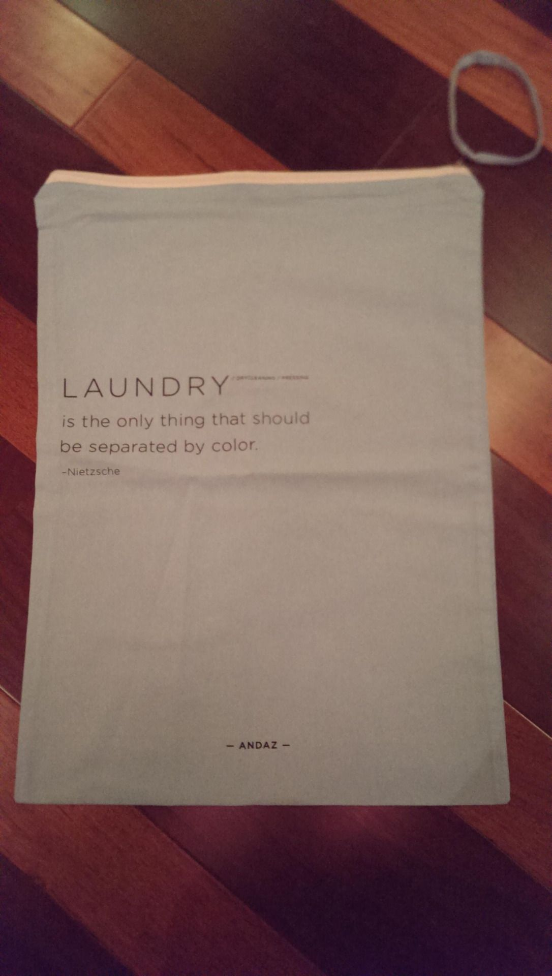 Re Hotels Laundry Bag Has A Quote From Nietzsche On It Via