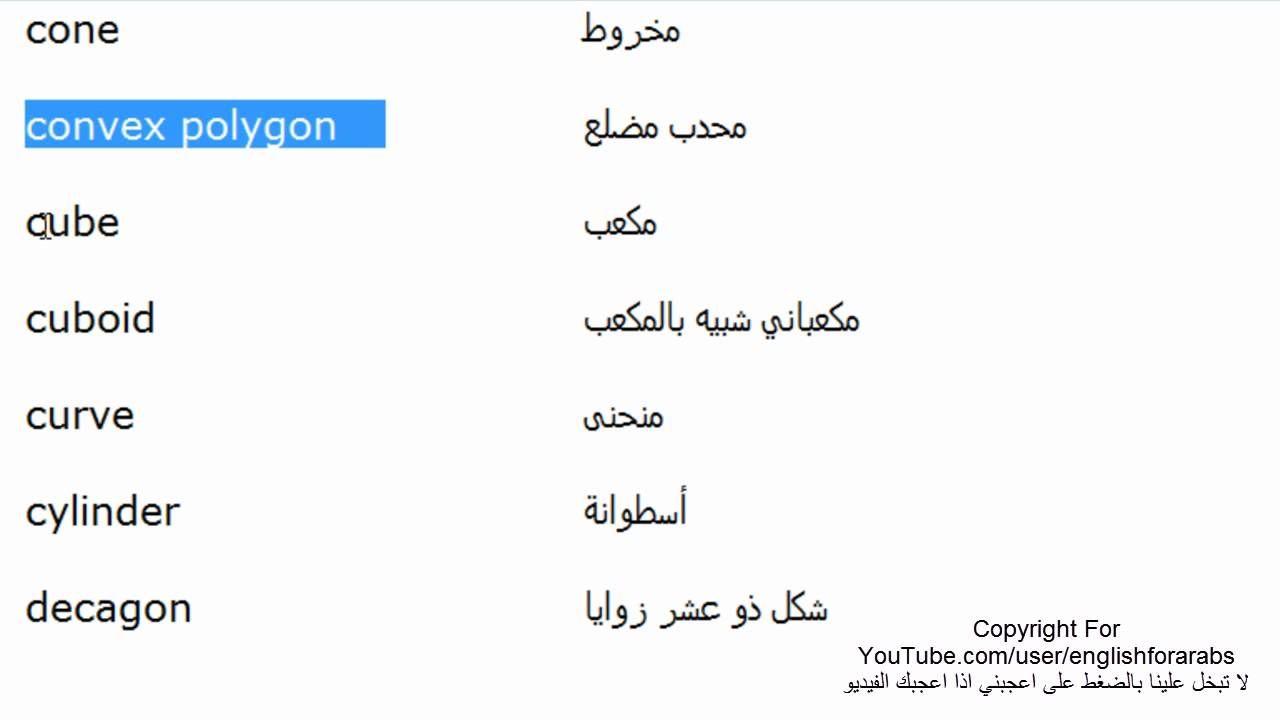 اسماء الاشكال الهندسية باللغة الانجليزية الجزء 1 Youtube Math Math Equations Equation