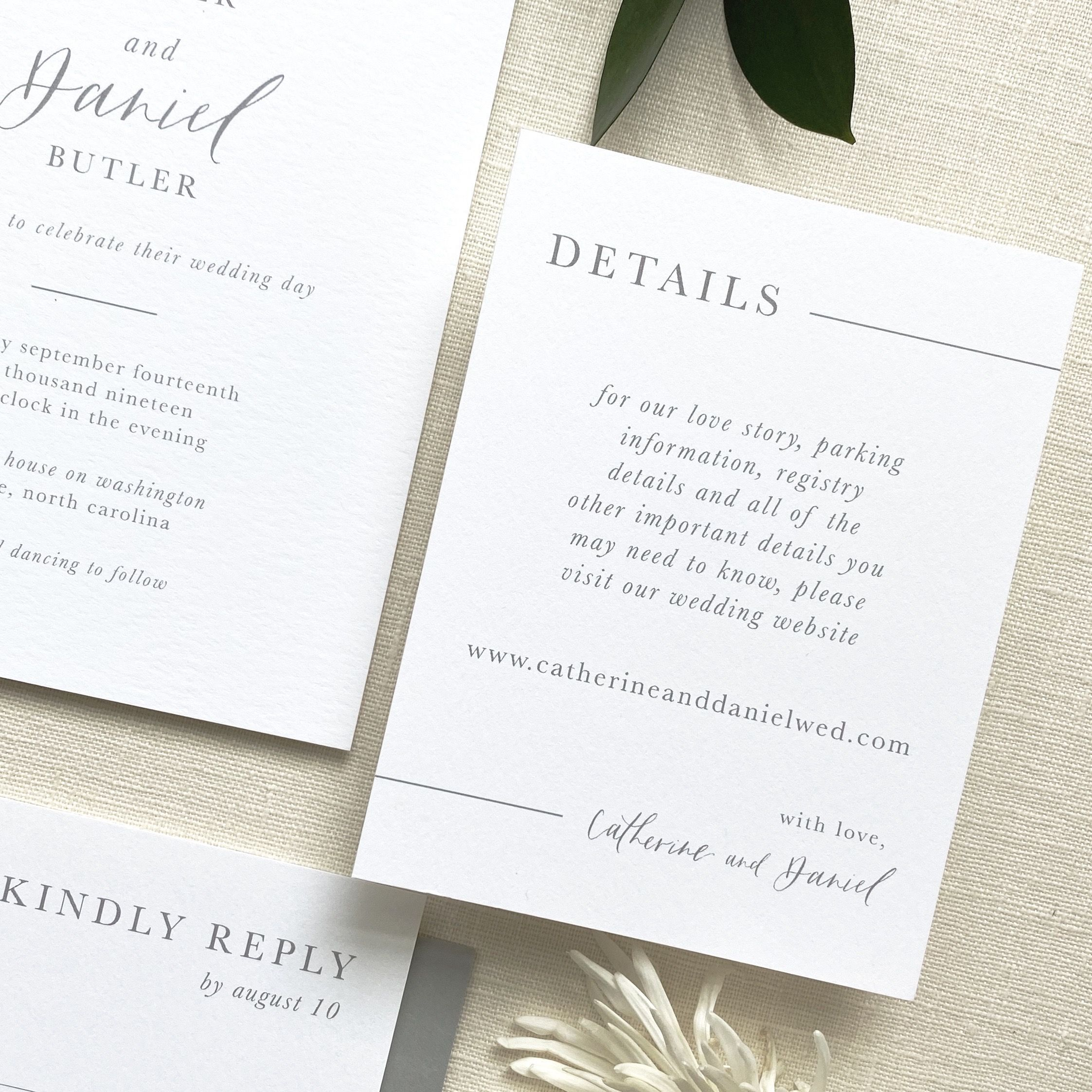 Simple Modern Gray And White Wedding Invitation Suite With Elements Of Modern Callig Custom Wedding Invitations Bespoke Wedding Invitations Wedding Invitations