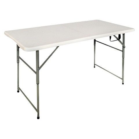 4 Folding Banquet Table Off White Plastic Dev Group Banquet Tables Fold In Half Table Simple Storage