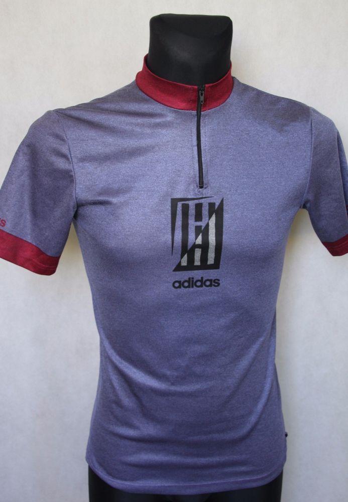 Mens  ADIDAS  Retro Vintage Abstract Cycling Jersey sz 3 Grey b7b41c247