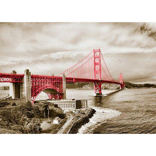 East Urban Home Around The World San Francisco Bridge Photo Print in Red | Wayfair.de