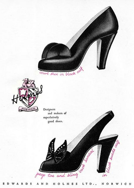 What eye-catching adornments on these wonderful black heels from 1947.