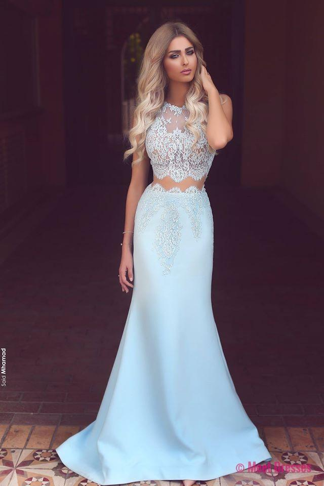 Prom Dresses,Long Prom Dresses,Baby Blue Two Piece Evening Dress ...
