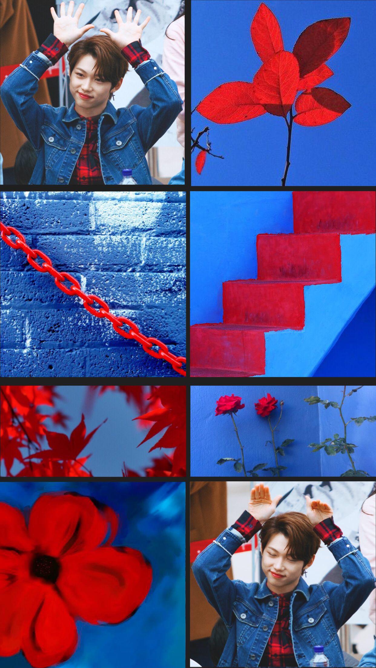 Stray Kids Felix Wallpaper Edit Red Blue Aesthetic Kpop