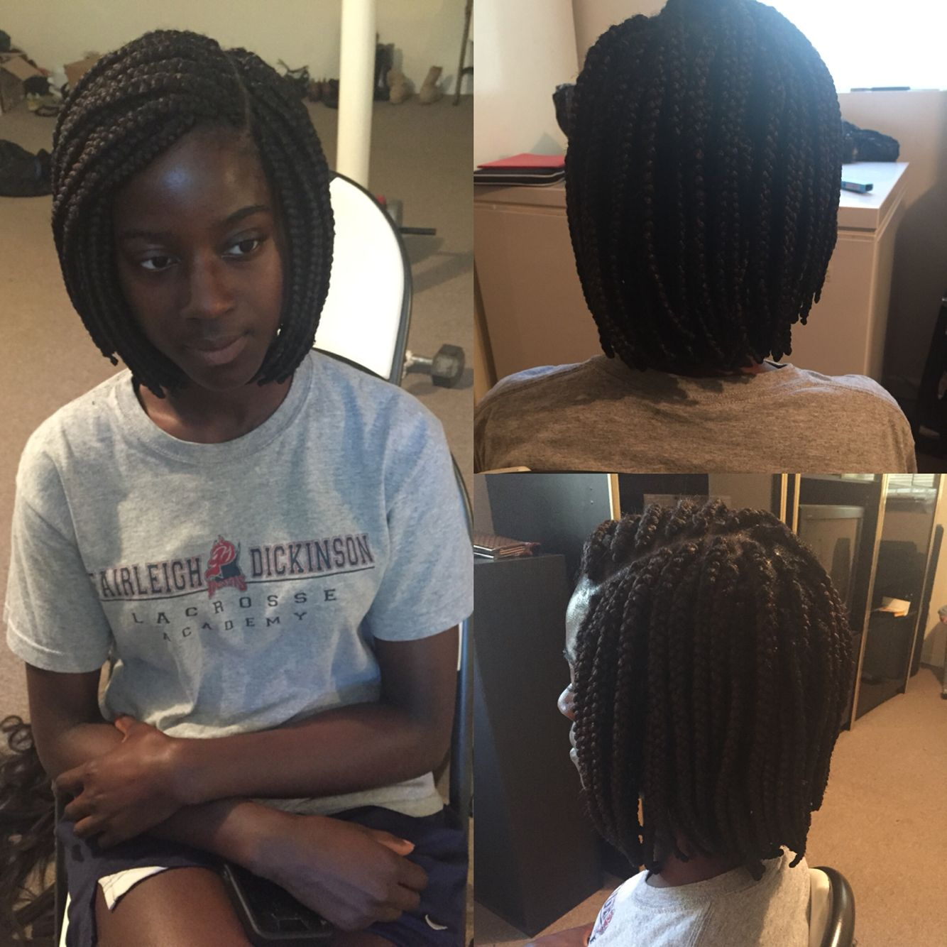 short box braids with side part