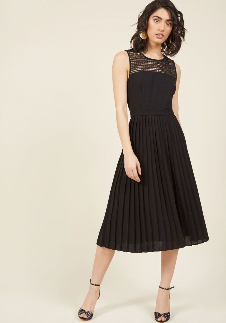 Black and white dresses for wedding guests  Refreshingly Fetching Midi Dress in Noir  Midi dresses ModCloth